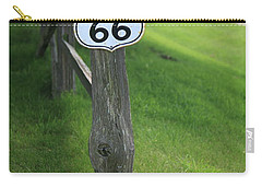 Carry-all Pouch featuring the photograph Route 66 Shield And Fence Post by Frank Romeo