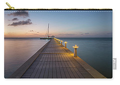 Carry-all Pouch featuring the photograph Rum Point Pier At Sunset by Adam Romanowicz