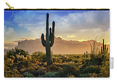 Carry-all Pouch featuring the photograph Saguaro Sunrise In The Superstitions  by Saija Lehtonen