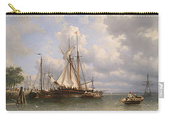 Sailing Ships In The Harbor Carry-all Pouch by Anthonie Waldorp