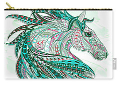 Sea Green Ethnic Horse Carry-all Pouch