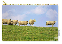 Carry-all Pouch featuring the photograph Sheep On Dyke by Patricia Hofmeester