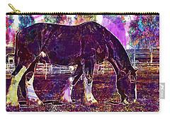 Carry-all Pouch featuring the digital art Shire Horse Horse Coupling  by PixBreak Art