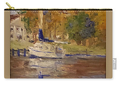 Carry-all Pouch featuring the painting Single Sailboat by Jim Phillips