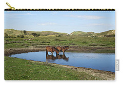 Small Lake With Wild Horses Carry-all Pouch