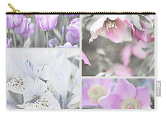 Carry-all Pouch featuring the photograph Spring Flower Collage. Shabby Chic Collection by Jenny Rainbow