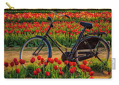 Carry-all Pouch featuring the photograph Springtime Tulips And Bike by Susan Candelario