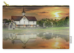 Carry-all Pouch featuring the mixed media Star Barn Sunrise by Lori Deiter