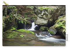 Carry-all Pouch featuring the photograph Stone Guardian Of The Waterfalls - Bizarre Boulder On The Bank by Michal Boubin