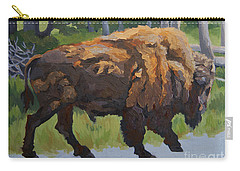 Carry-all Pouch featuring the painting Strutting Along, Yellowstone by Erin Fickert-Rowland