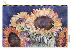 Carry-all Pouch featuring the painting Sunflowers by Nadine Dennis