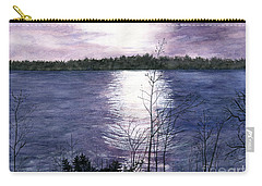 Carry-all Pouch featuring the painting Sunset At Niagara River New York by Melly Terpening