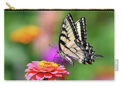 Carry-all Pouch featuring the photograph Swallowtail On A Zinnia by Rodney Campbell