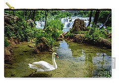 Swan In The Waterfalls Of Skradinski Buk At Krka National Park In Croatia Carry-all Pouch