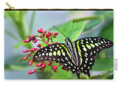 Carry-all Pouch featuring the photograph Tailed Green Jay Butterfly  by Saija Lehtonen