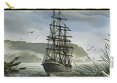 Carry-all Pouch featuring the painting Tall Ship Cove by James Williamson