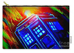 Carry-all Pouch featuring the painting Tardis Watercolor Edition by Justin Moore