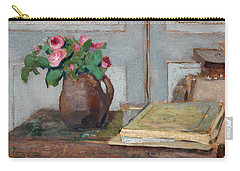 The Artist's Paint Box And Moss Roses Carry-all Pouch