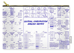 The Cocktail Construction Blueprint Carry-all Pouch by Jon Neidert