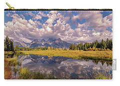 Carry-all Pouch featuring the photograph The Grand Tetons National Park Autumn Olena Art Fall Colors Photography by OLena Art Brand