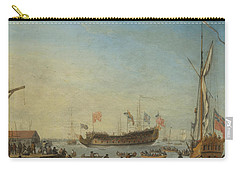 The Launch Of A Man Of War Carry-all Pouch by Robert Woodcock