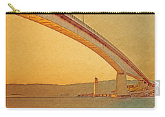 Carry-all Pouch featuring the digital art The Skye Bridge And Kyleakin Lighthouse by Anthony Murphy