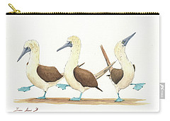 Three Blue Footed Boobies Carry-all Pouch by Juan Bosco