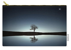 Tree Near Lake At Night Carry-all Pouch by Bess Hamiti