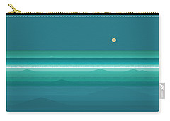 Carry-all Pouch featuring the digital art Tropical Sea Moonrise by Val Arie