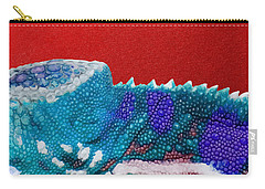 Turquoise Chameleon On Red Carry-all Pouch