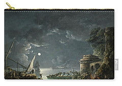 View Of A Moonlit Mediterranean Harbor Carry-all Pouch by Carlo Bonavia