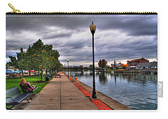 View Of Delaware Bridge At Erie Canal Harbor Carry-all Pouch by Michael Frank Jr