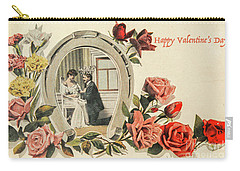 Vintage Valentine Postcard Carry-all Pouch by Patricia Hofmeester