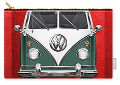 Volkswagen Type 2 - Green And White Volkswagen T 1 Samba Bus Over Red Canvas  Carry-all Pouch
