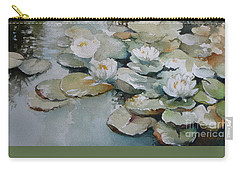 Carry-all Pouch featuring the painting Waterlilies by Elena Oleniuc