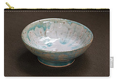 White Ceramic Bowl With Turquoise Blue Glaze Drips Carry-all Pouch by Suzanne Gaff