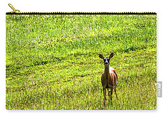 Carry-all Pouch featuring the photograph Whitetail Deer And Hay Rake by Thomas R Fletcher