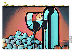 Wine Glass Bottle And Grapes Abstract Pop Art Carry-all Pouch