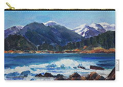 Carry-all Pouch featuring the painting Winter Mountains Alaska by Yulia Kazansky