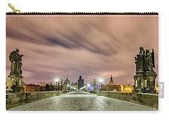 Winter Night At Charles Bridge, Prague, Czech Republic Carry-all Pouch