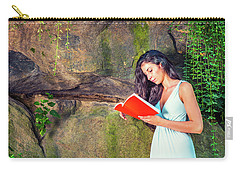 Young American Woman Reading Book At Central Park, New York, In  Carry-all Pouch