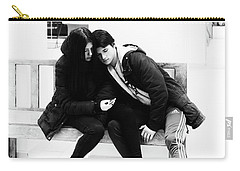Carry-all Pouch featuring the photograph Young Romantic Couple Sharing A Mobile Phone by John Williams