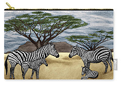 Zebra African Outback  Carry-all Pouch by Peter Piatt