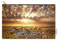 Zebras Herd On African Savanna At Sunset. Carry-all Pouch