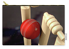 Cricket Ball Hitting Wickets Carry-all Pouch by Allan Swart