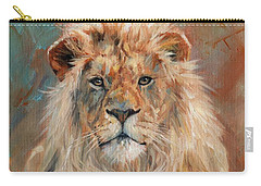 Carry-all Pouch featuring the painting Lion by David Stribbling