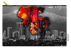 Los Angeles Map And Skyline Carry-all Pouch by Marvin Blaine