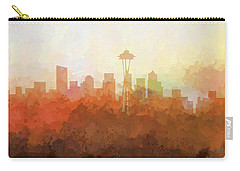 Carry-all Pouch featuring the digital art Seattle Washington Skyline by Marlene Watson