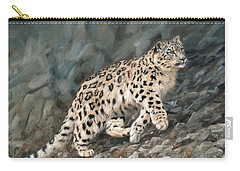 Carry-all Pouch featuring the painting Snow Leopard by David Stribbling