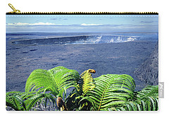Carry-all Pouch featuring the photograph 100960 Ferns And Halemaumau Crater Kilauea Caldera Hi by Ed Cooper Photography